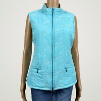 Croft & Barrow Floral Embroidered Zip Vest Jacket MEDIUM Blue White Fleece Lined