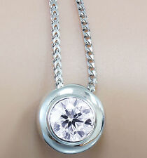 14K WHITE GOLD ROUND CUT DIAMOND BEZEL SET SOLITAIRE NECKLACE AND CHAIN 0.75CT