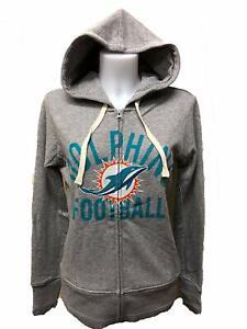 Miami Dolphins Women's Post Season Full Zip Hoody Sweatshirt - Gray