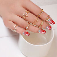 1 Set 7pcs Womens Popular Bowknot Knuckle Midi Mid Finger Tip Stacking Rings IL