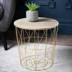 Tromso Contemporary Metal Wire Round Wood Top Basket Side Table / Coffee  - Gold