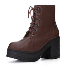 Women Chunky Heel Platform Lace up Ankle Combat BOOTS 7 Coffee Color