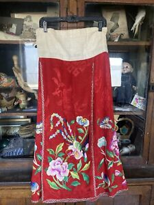 antique chinese red silk skirt birds floral Pheasant embroidery Butterfly