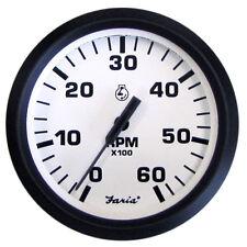"""FARIA EURO WHITE 4"""" TACHOMETER 6000 RPM GAS INBOAR"""