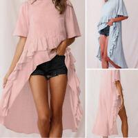 ZANZEA Women Short Sleeve Tee T-Shirt Top Loose Baggy High Low Ruffled Blouse