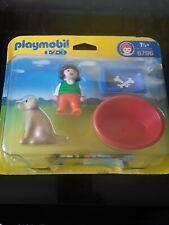 Playmobil 1.2.3. 6796 Girl with Dog bowl and basket, NEW