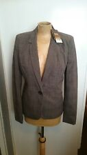 BNWT Women's Next Tailored Business Office Work Jacket Size UK 8R Brown Check H2