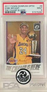 2017 NBA Panini Donruss Optic The Champ Is Here #6 Kobe Bryant Graded PSA 9 MINT