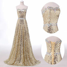 Fashion~Shiny Glamour Long Gold Sequin Wedding Ball Gown Prom Formal Dress