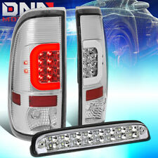[LED C-BAR]FIT 2008-2016 FORD SUPER DUTY CHROME TAIL LIGHT+THIRD 3RD BRAKE LAMP