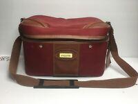Vintage JAGUAR Red Train Case Carry On Luggage Cosmetic Overnight Shoulder Bag