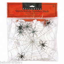 57g White Spider Web Cobweb Decoration plus 4 Spiders