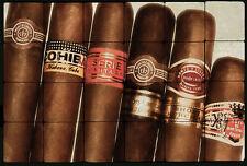Art Still Life Tumbled Marble Tiles Smoke Rooms, Bars Decor 24x16 Cuban Cigar
