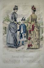 GRAVURE COULEURS MODE FEMININE DEMOISELLES ROBES ENFANT PERRON PARC AOUT 1884