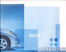 2003 Toyota Matrix Original Sales Brochure Catalog