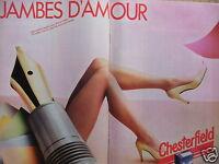 PUBLICITÉ DE PRESSE 1980 CHESTERFIELD COLLANT TRÈS FIN JAMBES D'AMOUR