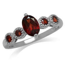 Natural Rhodolite Garnet White Gold Plated 925 Sterling Silver Right-Hand Ring