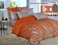 Orange Tree Cotton Bedding Set: Duvet Cover Set or Comforter or Both, Queen/King