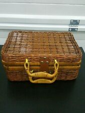 Small Wicker Picnic Basket W/Leather Closure, Blue Yellow Check Lining
