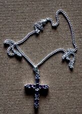 """Sterling Silver 50mm Cross with Purple Cubic Zirconia Stones on 400mm(16"""") Chain"""