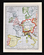 1892 Map Western Europe Charles V 1525 Germany France England - Original Antique