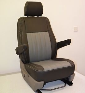 VW Transporter T5 Genuine Fit Fluted Quilts Van Seat Covers Black & Pewter Grey