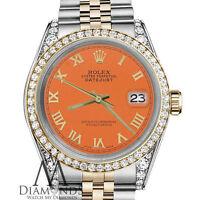 Rolex 36mm Datejust 2 Tone Orange Roman Numeral Dial with Diamond Bezel & Lugs