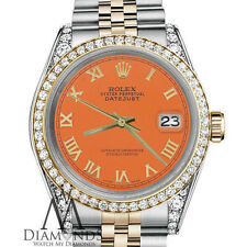 Orange Rolex 31mm Datejust 2 Tone 18K Gold Roman Numeral with Diamond