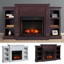 New ListingElectric Fireplace Freestanding 1400W Artificial Flame Effect with Detachable