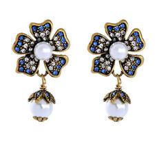 New Fashion Betsey Johnson Rare Alloy Rhinestone Flower Pearl Drop Earring Jewel