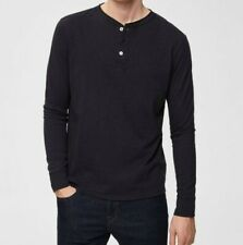 New Selected Homme Mens EU LARGE black Beauty  SPLIT NECK - LONG-SLEEVED T-SHIRT