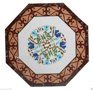 24 Inches Marble Center Table Top Unique Design Inlaid Coffee Table Home Decor