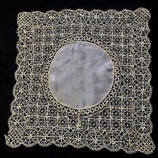 Exceptional Antique Silk Handkerchief Delicate Maltese Bobbin Lace