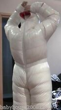 Shiny glossy nylon down suit overall winter coat catsuit down hoods wet-look new