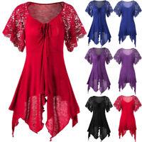 Women's Bandage High Waist Short Sleeve Lace Patchwork Irregular Mini Dress