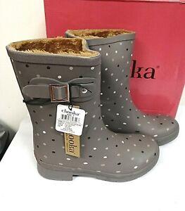 Chooka Women's Petite Dot Delridge Plush Mid Rain Boots PICK SIZE TAUPE - 0W_05