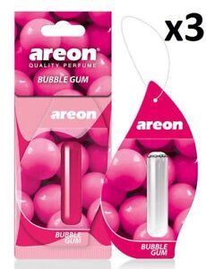 3 x Areon Liquid 5ml. Bubble Gum Car Aroma Perfume Tree Air Freshener Fragrance