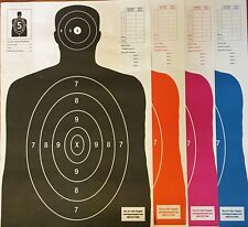 25 Each Of 4 Shooting Paper Targets Silhouette Gun Pistol Rifle B-27 Qty:100
