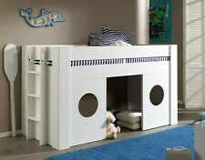 "Vipack Halbhohes Spielbett ""FREYA"" 90 x 200 - Hausbett Hochbett Kinderbett  Weiß"