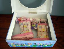 Western Chief Toddler Girls Plaid Pink White Flowers Rain Boot sz 5 W Umbrella
