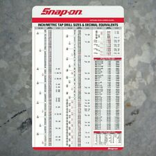 Snap-on Tool box Tap drill size chart with decimal equivalents tool chest