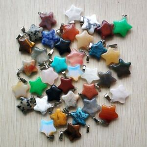 Fashion natural stone mixed Five star shape pendants 50pcs/lot Wholesale free