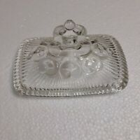 Indiana Glass Co Candy Dish LID Clear Pedestal Lace Edge Ribbed Vintage LID only