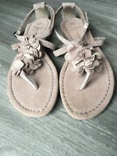 Ladies Sandals Size 5 - Light Beige - Floral Design - Suede - Buckle
