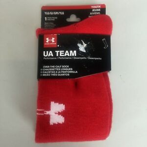 Under Armour UA Youth Soccer Team Red Over the Calf socks Youth Large New