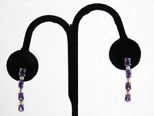Vermeil Sterling Silver Amethyst Melee Diamond Drop Earrings Pierced Dangle 925
