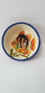 Beautiful Anibal Rosado Vintage Majolica Fish Bowl Portugal