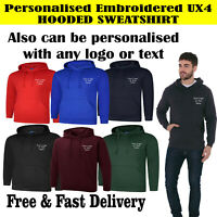 Personalised Embroidered LOGO/TEXT UX4 Embroidered High Quality Hoodie Sweat