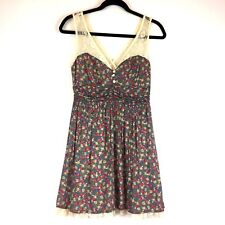 Twenty One Skater Dress Womens Size S Petite Floral Print Lace Ruched Sleeveless