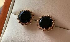 18K Yellow Gold Black Tourmaline Stud Earrings